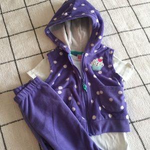 Purple Cupcake Fleece Matching Set w/Vest 🎂